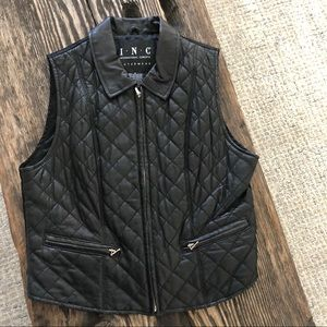 INC exquisite LEATHER soft QUILTED VEST